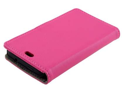 HTC Desire 300 Slim Synthetic Leather Wallet Case with Stand - Pink