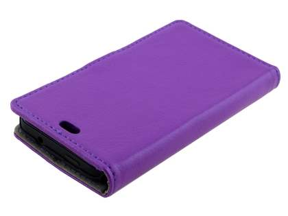 HTC Desire 300 Slim Synthetic Leather Wallet Case with Stand - Purple