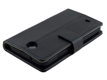 Synthetic Leather Wallet Case with Stand for HTC Desire 300 - Classic Black