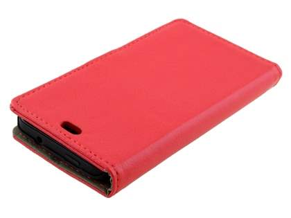 HTC Desire 300 Slim Synthetic Leather Wallet Case with Stand - Red