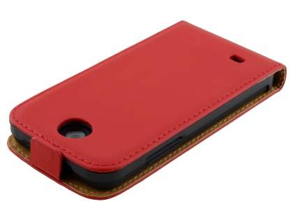 HTC Desire 300 Slim Genuine Leather Flip Case - Red