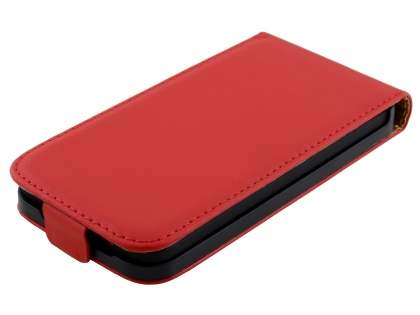 Slim Genuine Leather Flip Case for HTC Desire 300 - Red