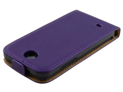 HTC Desire 300 Slim Genuine Leather Flip Case - Purple