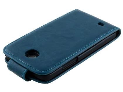HTC Desire 300 Synthetic Leather Flip Case - Teal Blue