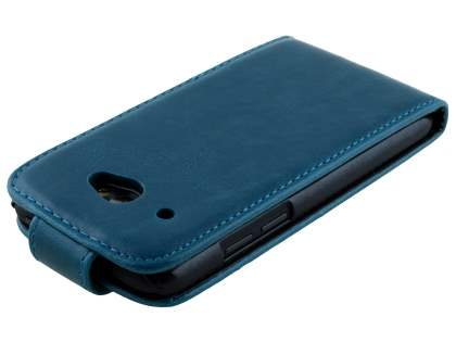 HTC Desire 601 Synthetic Leather Flip Case - Teal Blue