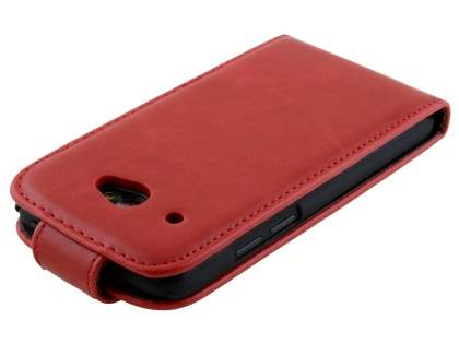 HTC Desire 601 Synthetic Leather Flip Case - Red