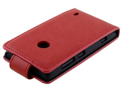Nokia Lumia 520 Synthetic Leather Flip Case - Red