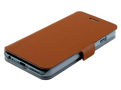 Slim Genuine Leather Portfolio Case with Stand for iPhone 6s/6 - Brown
