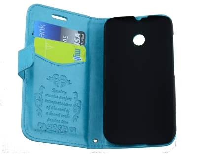 Synthetic Leather Wallet Case with Stand for Motorola Moto E 1st Gen - Aqua