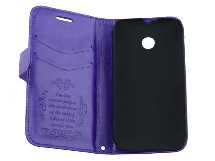 Motorola Moto E 1st Gen Slim Synthetic Leather Wallet Case with Stand - Purple