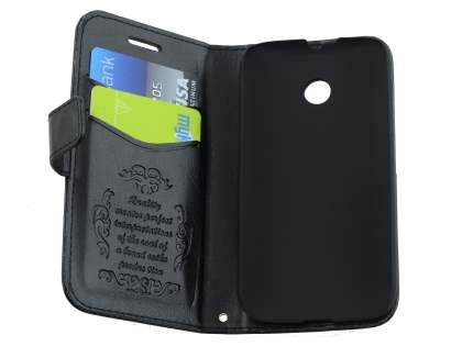 Motorola Moto E 1st Gen Slim Synthetic Leather Wallet Case with Stand - Classic Black