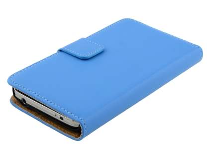 Genuine Leather Wallet Case with Stand for Samsung Galaxy S5 mini - Sky Blue