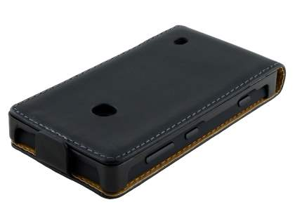 Nokia Lumia 520 Slim Genuine Leather Flip Case - Classic Black