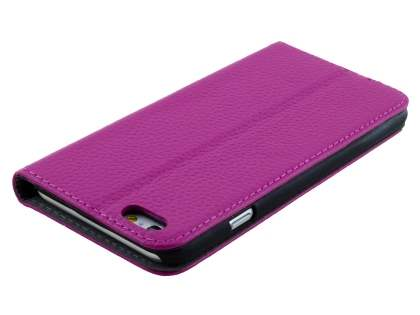 Slim iPhone 6s/6 4.7 inches Genuine Textured Leather Wallet Case with Stand - Light Purple
