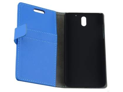 HTC Desire 610 Slim Synthetic Leather Wallet Case with Stand - Blue
