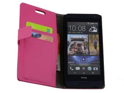 HTC Desire 610 Slim Synthetic Leather Wallet Case with Stand - Pink