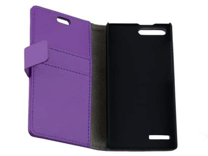Huawei Ascend G6 4G Synthetic Leather Wallet Case with Stand - Purple