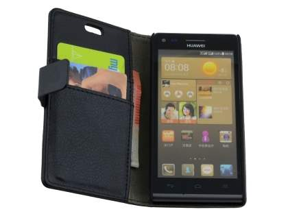 Synthetic Leather Wallet Case with Stand for Huawei Ascend G6 4G - Classic Black