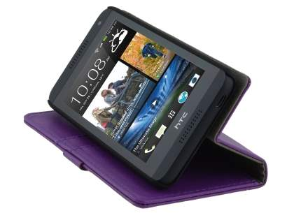 HTC Desire 610 Slim Synthetic Leather Wallet Case with Stand - Purple