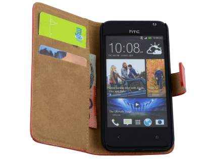 Slim Genuine Leather Wallet Case for HTC Desire 300 - Red