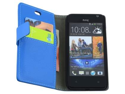 HTC Desire 300 Slim Synthetic Leather Wallet Case with Stand - Blue