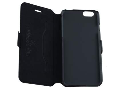 Slim Genuine Leather Portfolio Case with Stand for iPhone 6s Plus/6 Plus - Classic Black