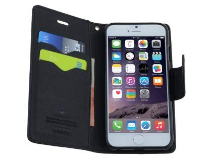 Mercury Goospery Colour Fancy Diary Case with Stand for iPhone 6s/6 - Classic Black