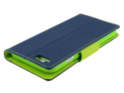 Mercury Colour Fancy Diary Case with Stand for iPhone 6s/6 4.7 inches - Navy/Lime