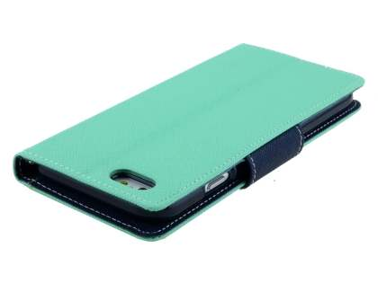 Mercury Colour Fancy Diary Case with Stand for iPhone 6s/6 4.7 inches - Mint/Navy