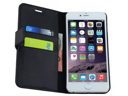 Apple iPhone 6s Plus / 6 Plus Slim Synthetic Leather Wallet Case with Stand - Classic Black
