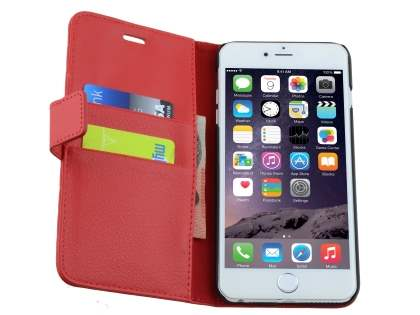 Apple iPhone 6s Plus / 6 Plus Slim Synthetic Leather Wallet Case with Stand - Red