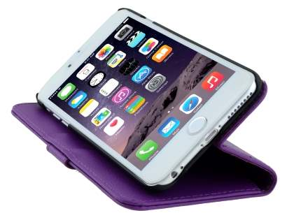 Synthetic Leather Wallet Case with Stand for iPhone 6s Plus/6 Plus - Purple