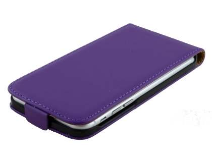 Slim Genuine Leather Flip Case for iPhone 6s/6 - Purple