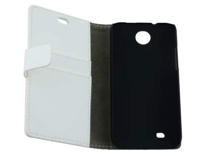 HTC Desire 300 Slim Synthetic Leather Wallet Case with Stand - Pearl White