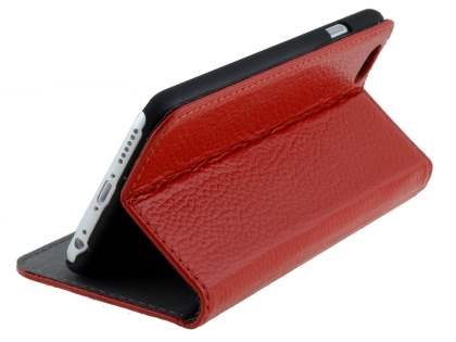 Slim iPhone 6s/6 4.7 inches Genuine Textured Leather Wallet Case with Stand - Red