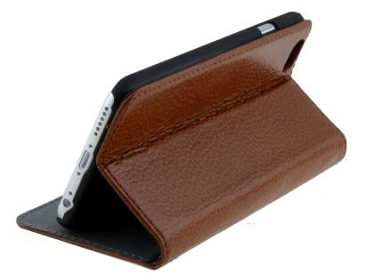 Genuine Textured Leather Wallet Case with Stand for iPhone 6s/6 - Brown
