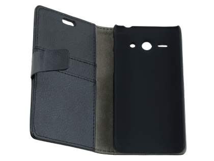 Huawei Ascend Y530 Slim Synthetic Leather Wallet Case with Stand - Classic Black
