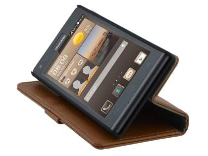 Huawei Ascend G6 4G Synthetic Leather Wallet Case with Stand - Brown