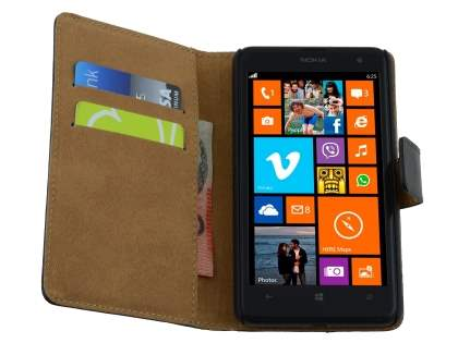 Nokia Lumia 625 Genuine Leather Wallet Case with Stand - Classic Black
