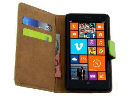 Genuine Leather Wallet Case with Stand for Nokia Lumia 625 - Green