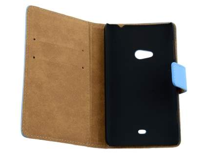 Nokia Lumia 625 Genuine Leather Wallet Case with Stand - Sky Blue