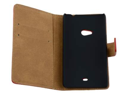 Nokia Lumia 625 Genuine Leather Wallet Case with Stand - Red