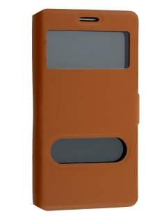 Samsung Galaxy Note 4 Slim Genuine Leather Portfolio Case - Brown