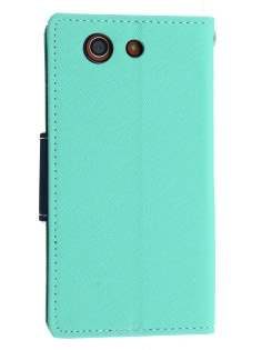 Mercury Colour Fancy Diary Case with Stand for Sony Xperia Z3 Compact - Mint/Navy