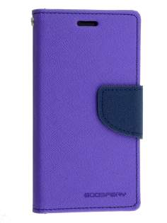 Mercury Goospery Colour Fancy Diary Case with Stand for Sony Xperia Z3 Compact - Purple/Navy Leather Wallet Case
