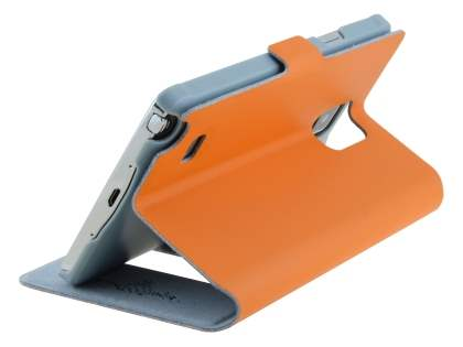 Slim Genuine Leather Portfolio Case for Samsung Galaxy Note 4 - Orange