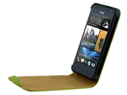 HTC Desire 300 Slim Genuine Leather Flip Case - Lime Green