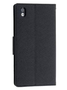 Mercury Goospery Colour Fancy Diary Case with Stand for HTC Desire 816 - Classic Black
