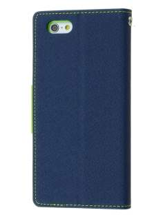 Mercury Colour Fancy Diary Case with Stand for iPhone 6s Plus/6 Plus - Navy/Lime