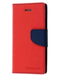 Mercury Colour Fancy Diary Case with Stand for iPhone 6s Plus / 6 Plus - Red/Navy